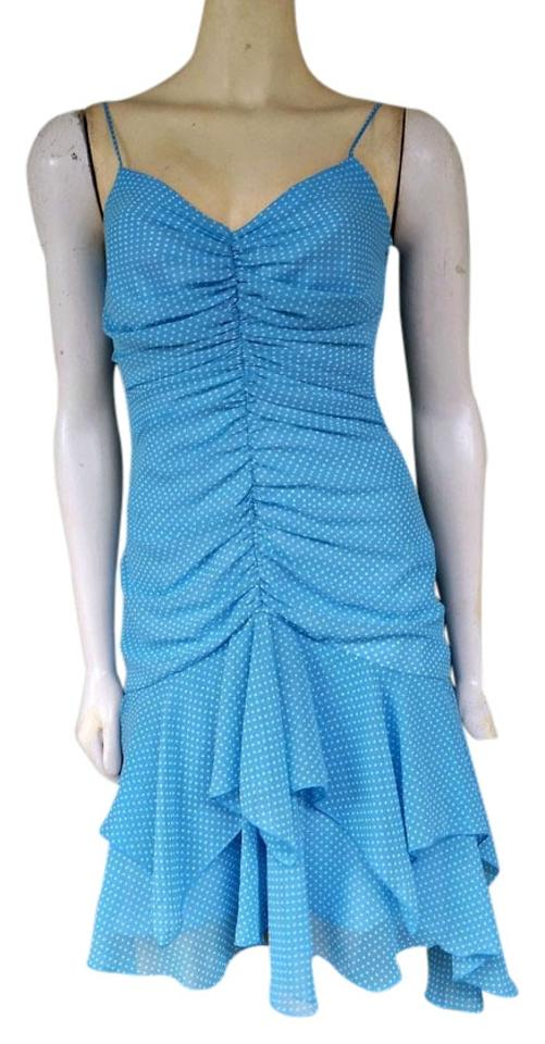 7c3223404d47 A.B.S. by Allen Schwartz Blue Polka Dot Ruched Knee Length Night Out ...