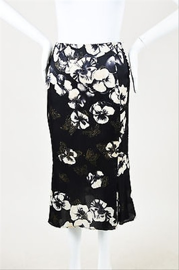 bccfcee877 hot sale 2017 Emanuel Ungaro Black Silk Floral Butterfly Print Pencil  Flounce Skirt