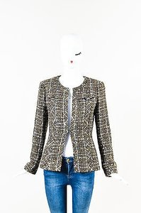Chanel Olive Green Navy Cream Wool Tweed Sequin Open Multi-Color Jacket