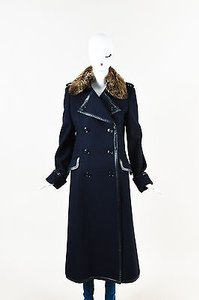 Coach Navy Wool Leather Coat
