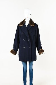 Max Mara Navy Wool Brown Fur Accent Double Breasted Ls Coat