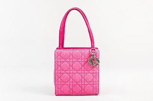 Dior Christian Hot Wool Quilted Cannage Pattern Shw Lady Tote in Pink