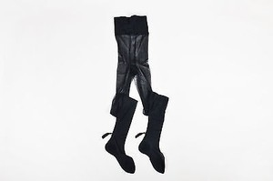 Set Of Nicolas Messina Black Fringe Pom Pom Stockings