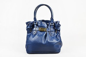 Burberry Navy Gold Tone Tote in Blue