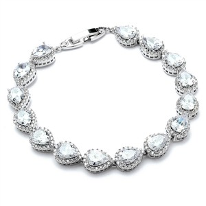 Mariell Cz Pear And Round Bridal Or Bridesmaids Silver Bracelet 4562b-s
