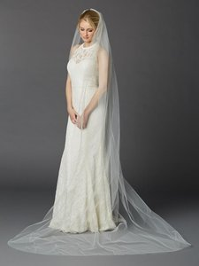 Mariell Ivory Long Cathedral Length One Layer Cut Edge In 4433v-108-i Bridal Veil