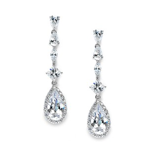 Mariell Slender Teardrop Wedding Or Prom Cz Dangle Earrings 3647e