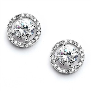Mariell Silver With Bold Cz Solitaire 347e Earrings