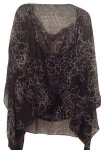 Vince Camuto Top Black with silver flowers