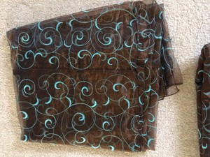 Chocolate Brown And Tiffany Blue Organza Overlays
