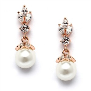 Mariell Rose Gold Cz Marquis Trio with Pearl Drop 304e-i-rg Earrings