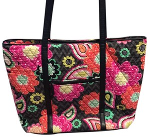Vera Bradley Tote in Black, Pink, Green, Orange
