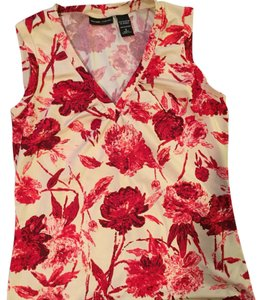 New York & Company Top Red & cream