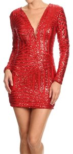 Beaded Longsleeve Sequin Dress