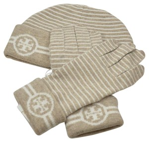 Tory Burch Reversible Striped Hat and Glove Setn (Gift Wrap Included)