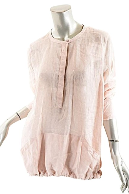 Preload https://img-static.tradesy.com/item/19766554/brunello-cucinelli-pink-dusty-pinkwhite-ramie-henley-blouse-size-18-xl-plus-0x-0-1-650-650.jpg