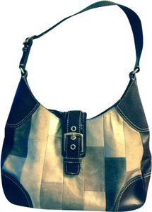 Coach Leather Suede Patchwork Shoulder Bag