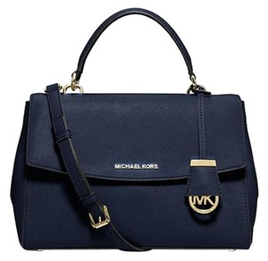 Michael Kors Gold Leather Ava Satchel in Navy/Gold