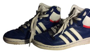 adidas High Tops Basketball Sneakers Leather Blue Athletic