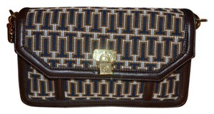 Tory Burch Paddle Lock Cross Stitch Leather Gold Satchel in Blue Rust Cream