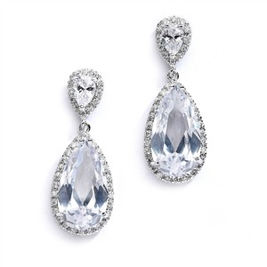Mariell Cubic Zirconia Wedding Or Bridal Earrings With Elongated Pear Drop 4044e