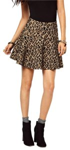 Free People Cheetah Animal Print Chenille Rayon A-line Mini Skirt