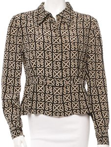 Chanel Floral Interlocking Cc Silk Top Black, Beige