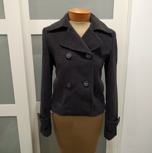 Express Double Breasted Short Charcoal Wool Pea Coat