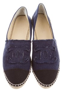 Chanel Espadrille Interlocking Cc Blue, Black Flats