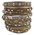 Shop One Twenty Antique Silver Gold Tone Embellished Stacking Bangle Bracelets