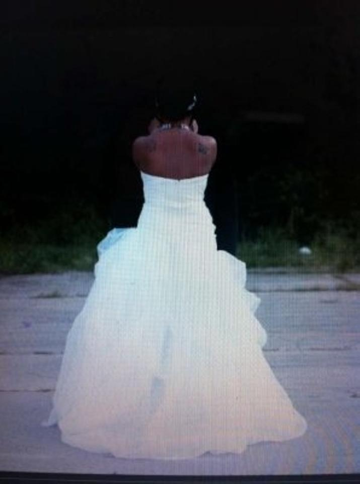 87e42c7dd21 David s Bridal Ivory Organza and Tulle High-low Gown with Beaded Flower  Modern Wedding Dress. 12
