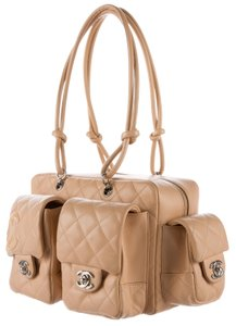 Chanel Quilted Ligne Cambon Reporter Satchel in Beige, Black