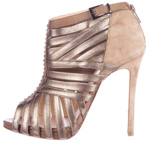 Christian Louboutin Cage Peep Toe Platform Metallic Leather Boots
