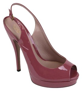 Gucci Patent Leather Sling Dark Pink Platforms