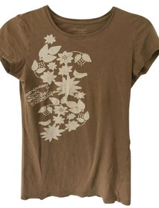 American Eagle Outfitters Flowery Floral Neutral T Shirt light brown