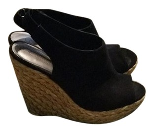 Carlos by Carlos Santana Black suede with straw wedge Wedges
