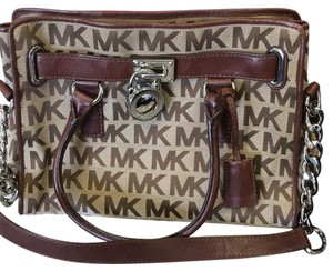 MICHAEL Michael Kors Satchel in Brown Leather And Cloth