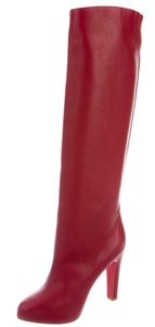 Christian Louboutin Round Toe Leather Chunky Red Boots