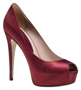 Gucci Satin Open Toe Platform Deep Red Pumps