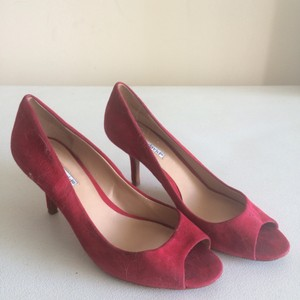 Charles David Peep Toe Suede Red Pumps