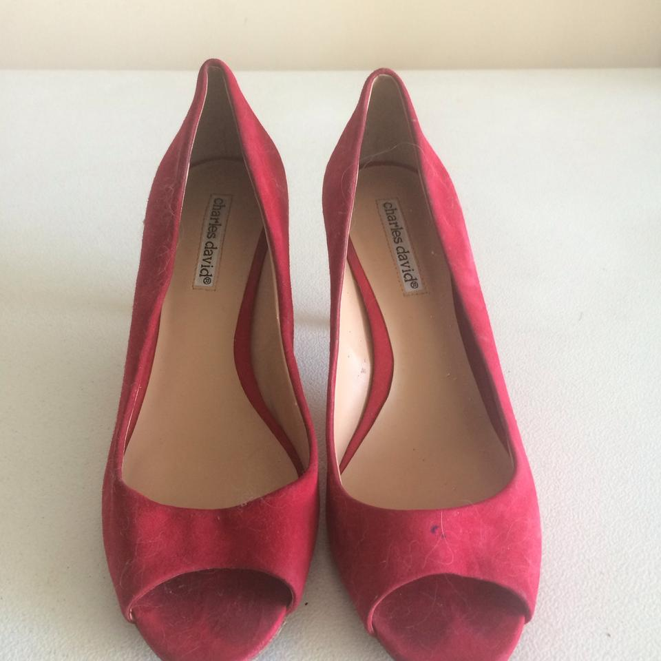 b56878b482d8 Charles David Red Peep Toe Pumps Size US 7 Regular (M