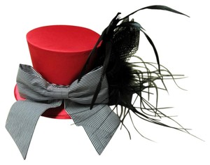 Other Satin Top Hat with Feathers and Banded Bow