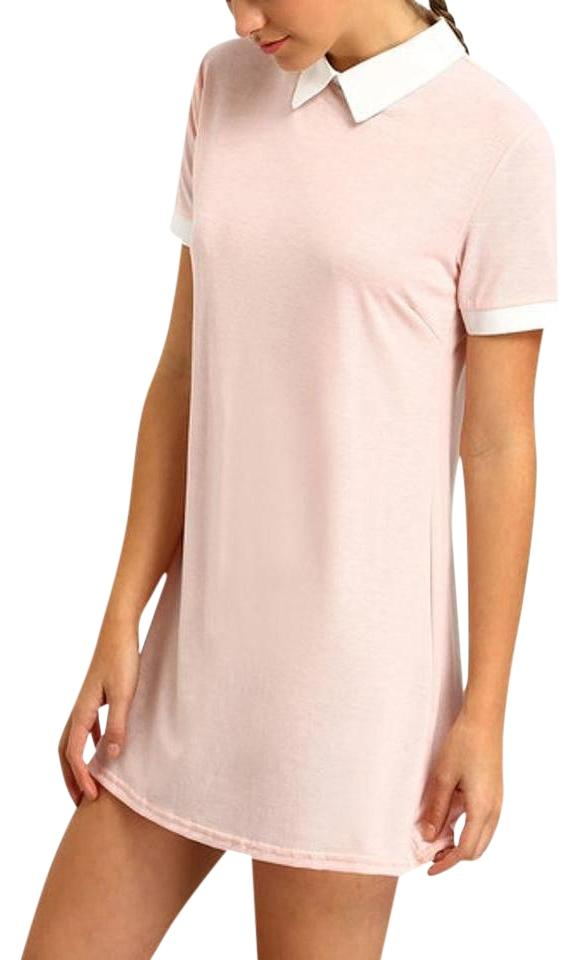 Romwe Baby Pink Pink Contrast Collar Shirt Dress