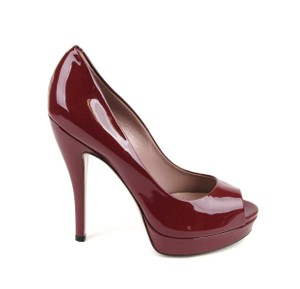 Gucci Patent Leather Open Toe Deep Red Pumps