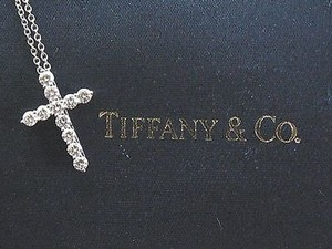 Tiffany & Co. Tiffany,Co,Platinum,Small,Cross,Diamond,Pendant,.42ct,16