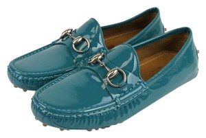 Gucci Patent Leather Horsebit Driver Turquoise Flats