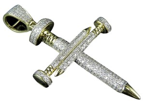 Mens 10k Yellow Gold Nail Cross 1.0 Ct Genuine Diamond Charm Pendant
