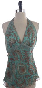 Laundry by Shelli Segal Silk Halter Top Blue