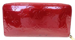 Louis Vuitton Auth Louis Vuitton Monogram Red Vernis Zip Around Purse Long Wallet