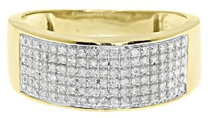 10k Yellow Gold Mens Pave Round Diamond 9mm Wedding Band Ring 0.50 Ct